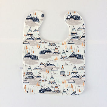 Large baby or toddler bib. White organic cotton with teepees. White cotton terry back. Shower gift. Gender Neutral. Ready to ship