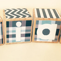 Custom Baby Name Blocks, Baby Blocks,  Baby Shower Gift, Nursery Decor, Prop, Blue Colors, Blue Plaid, Blue Decor
