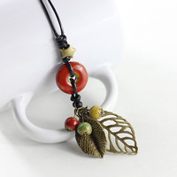Fashion Chinese Style Jewelry Leaf Pendant Ceramic Necklace New Vintage Pendant Long Sweater Chain for Women Ethnic Necklace
