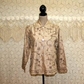 Beige Jacket Beaded Embroidered Raw Silk Petite Medium Bohemian Hippie Womens Jackets Laura Ashley Vintage Clothing Womens Clothing
