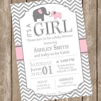 Best baby girl elephant baby shower invites products on wanelo pink and gray girl elephant baby shower invitation pe1 filmwisefo