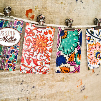 Vintage Indian Block Print Mini Card Set  - EIGHT CARD Set  - Cards Envelopes Stickers - Gift Tags - Hostess Gift - Place Card