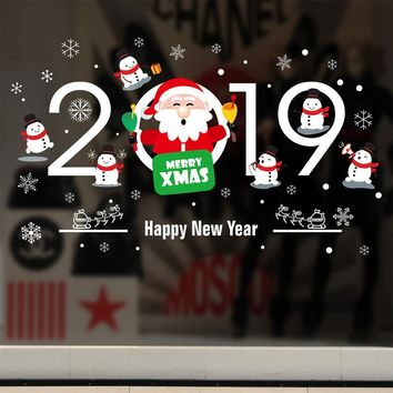 Home Decor Christmas Window Stickers Snowman Christmas Balls Tree Santa Claus 2019 Pendant New Year Festival Glass Wall Stickers
