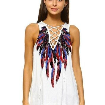 Women's V-Neckline Lace-Up Design and Feather Print Tank Top