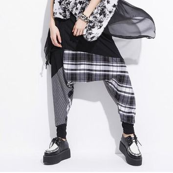 Women Baggy Harem Hippie Rope Plaid Pants