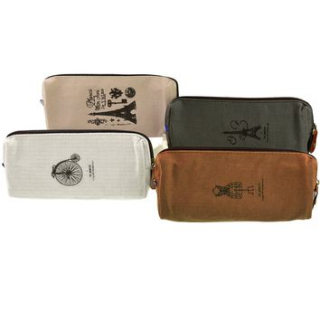Yookat Set of 4 Vintage Canvas Student Pen Pencil Case Stationery Pencil Holder Coin Purse Key Pouch Cell Phone Cases Cosmetic Makeup Bag School Office Travel Multifunction Storage Organizer