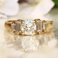 Beautiful Vintage Engagement Ring 0.60ct Transitional Cut Diamond and Baguette Ring 14K Yellow Gold Diamond Wedding Ring Size 6.5