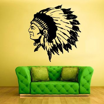 Wall Vinyl Decal Sticker Bedroom Kids Decal Injun Indian Redskin Red Man  z370