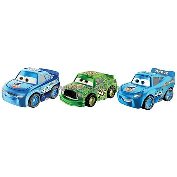 Cars 3 Diecast Micro Racers 3 pack Case D CAL WEATHERS CHICK HICKS DINOCO MCQUEEN