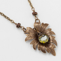Handmade Jewelry Necklace gold Vintage leaf bird charm filigree green Swarovski crystal Neo Victorian pendant Statement Necklace Gift R1121