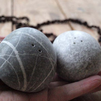 kitchen decor - hand cutted sea pebbles - salt and pepper shakers