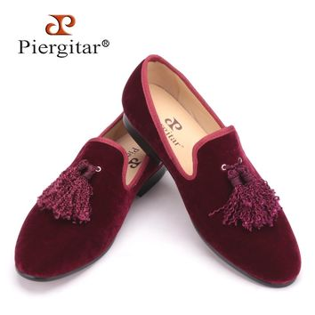 Handmade new fashion fabric tassel men velvet shoes British nobility loafers