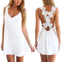 Amazon.com: AutumnFall 2015 Women Sexy Backless Lace Crochet Chiffon Summer Beach Mini Dres...