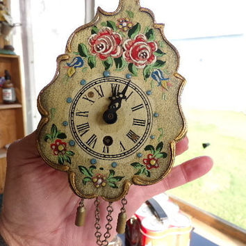 Vintage Key Wind miniature hand painted Wall Clock from West Germany with key. Home Décor, gift for her, business décor