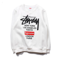 Fashion Supre Stussy Unisex Round Neck Long Sleeve Pullover Sweater