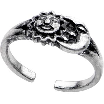 Silver Plated Sun and Moon Toe Ring