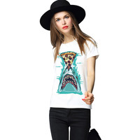 Fashion Knitting H625 2016 Street Fashion Harajuku Women T shirt White T-Shirt The Pizza Shark Graphic Print Plus Size Tees