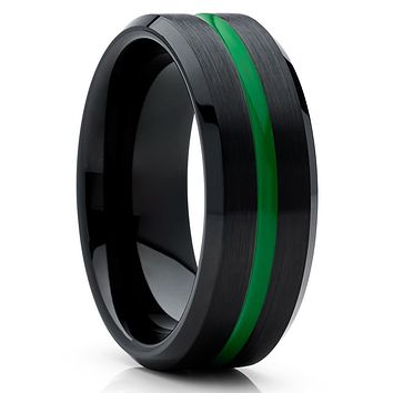Green Tungsten Wedding Ring - Black Band - Green Tungsten Band