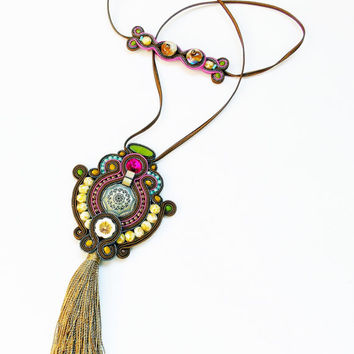 Soutache handmade jewelry. Cord necklace. Handmade statement soutache. Flashy jewelry. Unique gift for her.