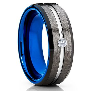 Blue Tungsten Ring - White Diamond Tungsten - Gray Tungsten Ring - Black
