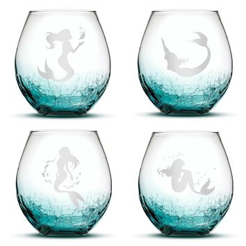 Crackle Teal Wine Glasses, Mermaid Designs, 18oz, Set of 4 (Crackle Teal)