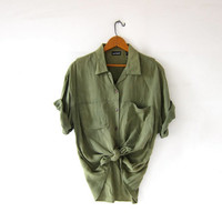 Vintage Army Green Shirt. Rayon Pocket Tee Shirt. Slouchy Button Up Tshirt. Minimal Shirt. Basic Button Up Shirt.