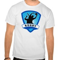 rugby player lineout line-out catch silhouette tshirt