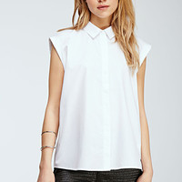 Rolled-Sleeve Collared Shirt