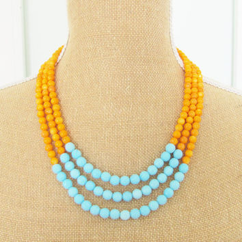 Color Block Necklace Turquoise Blue Tangerine Orange Dyed Jade Multi Color Statement Necklace - Bridesmaid, Multistrand Necklace