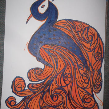 BOGO Sale Navy Blue and Orange Football Team Colors Abstract Acrylic Painted Peacock Limited Edition Zen Doodle Free Shipping