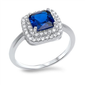 925 Sterling Silver CZ Round Simulated Diamond and Princess Cut Simulated Sapphire Halo Ring 12MM