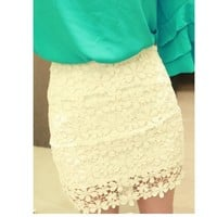 amazinglife — Retro Flower High Waisted Lace Skirt Short skirts