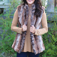 Winter Escape Fur Vest {Brown Mix}