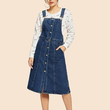 Stitch Detail Single Breasted Denim Overall Dress