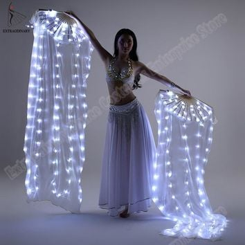 New Performance Prop Light up LED Fans Shiny Pleated Festival Carnival Dance Costume Accessories Belly Dance Fan
