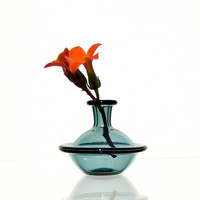 Tiny Vase in Teal, Hand Blown Glass