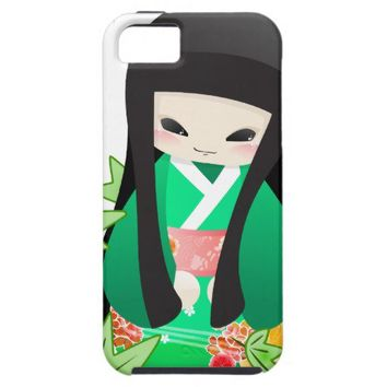 Japanese Geisha Doll - green series iPhone 5 Cases from Zazzle.com
