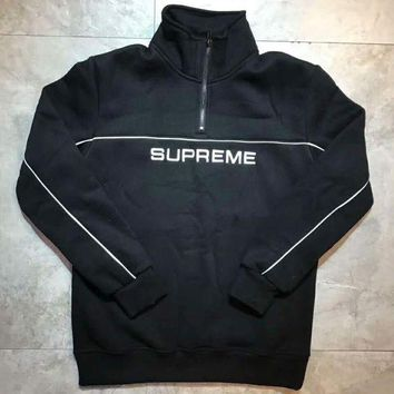 VXL8HQ Supreme 17fw 2-Tone Half Zip Sweatshirt Long Sleeve Pullover Hoodie Tops Sweater G-A-HRWM