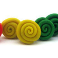Polymer clay stud earrings rainbow swirl stud by Mandyscharms