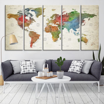95044 - Large Wall Art World Map Canvas Print- Custom World Map Push Pin Wall Art- Custom World Map Canvas Poster Print- Personalized Wall Art