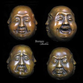 Four-Faced Buddha Statue-Joy, Anger,Sorrow, Serenity/Asian Brass Sculpture/4 Different Emotions Little Buddha Peace, Happiness Home Decor
