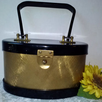 Vintage Dorset Rex Fifth Avenue 1950s Purse Gorgeous Shiny Gold Brass Hardware w Mirror Lucite Handle and Top Excellent Cond Estate Piece