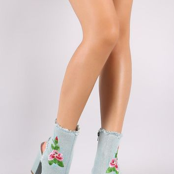 Shoe Republic LA Embroidered Floral Denim Chunky Heeled Booties