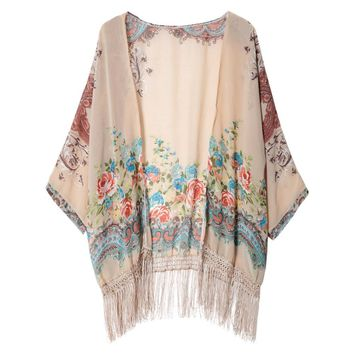 Stylish Collarless Floral Print Tassel Embellished Batwing Sleeve Blouse For Women