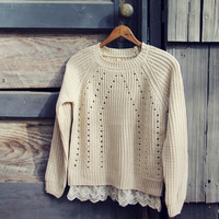 The Sugar Pine Lace Sweater in Cream