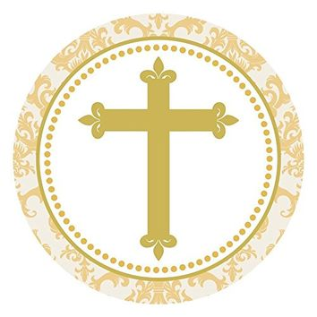 Gold Toned Cross Stickers - Christening Baptism Holy Communion Party Favor Labels - Set of 50