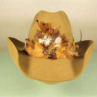 Stetson Feather Cowboy Hat - Vintage The Billy Kidd Brown Red