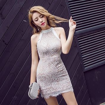 Women Sexy NEW Style Club Party Dresses Summer Dress Goddess of temperament Lace buttocks and sleeveless