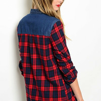 Red Plaid Flannel Denim Top
