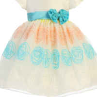 Girls Ivory Organza Dress w. Floral Embroidery & Teal Sash 3m-4T